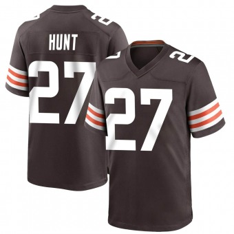 Youth Kareem Hunt Brown Game Team Color Football Jersey